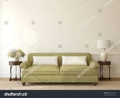 classic livingroom interior green couch near stock illustration