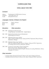Resume Format For Hotel Management German Resume Template Resume For Your Job Application