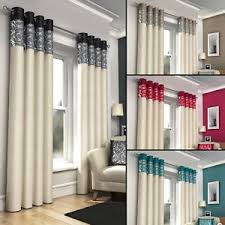Black And Silver Curtains Ring Top Fully Lined Pair Eyelet Ready Made Curtains Black