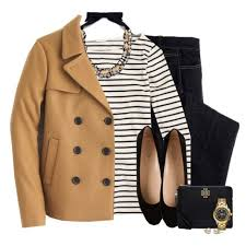 preppy for women over 50 j crew peacoat statement necklace striped top preppy