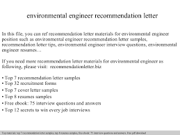 Environmental Engineer Resume Environmental Engineer Recommendation Letter