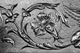 wood carved ornament background floral decoration craving on