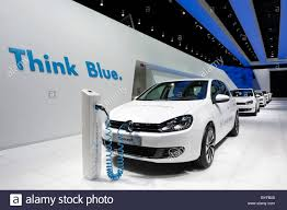 volkswagen electric car volkswagen display with the vw golf blue e motion electric car at