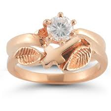 Rose Gold Wedding Ring Sets by Christian Cross Diamond Bridal Wedding Ring Set In 14k Rose Gold