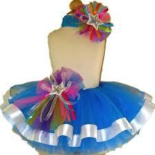 ribbon tutu neon blue white ribbon tutu set tutu heaven