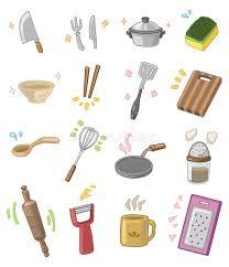 cuisine dessin animé ustensiles de cuisine de dessin animé illustration de vecteur