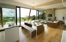 interior open floor plan kitchen dining living room wood furniture