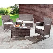 Synthetic Wicker Patio Furniture - safavieh mojavi 4 piece wicker outdoor set walmart com
