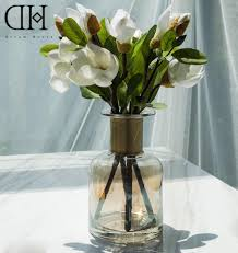 artificial flower decoration for home dh potted white magnolia flowers home decoration glass vase fake