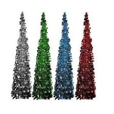 5 ft green tinsel tree pop up thin collapsible sequin