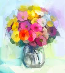 Glass Vase Painting Still Life Of Yellow And Red Gerbera Flowers Oil Painting Of