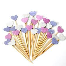 40 pieces lot handmade lovely pink heart cupcake toppers cake