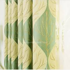 Lime Green Blackout Curtains Chenille Fabric Green And Yellow Leaf Pattern Thermal Blackout