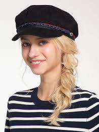 barret hat hats black woven rope embellished pinstriped beret hat gamiss