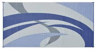 Rv Rugs For Outside Amazon Com Reversible Mats 159183 Blue Grey 9 U0027x18 U0027 Rv Patio Mat