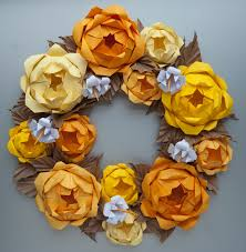 yellow origami paper wreath thanksgiving fall