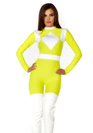 Power Rangers Halloween Costumes Adults Women U0027s Dominance Action Figure Yellow Catsuit