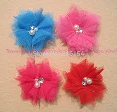 tulle hair bows 16 pcs 2 pearl rhinestone tulle mesh net flower for headband hair