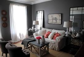 grey living room walls brown furniture small lamps beige curtain