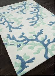 Area Rugs Tropical Theme Fusion Coral Fixation Area Rug In Sea Green Blue And White
