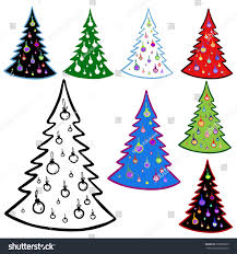 christmas tree elements christmas cards vector stock vector