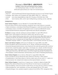 resume exles for software engineers standard one sle software engineer resume 16a experienced