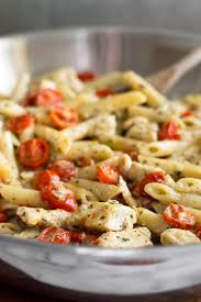 easy pasta recipes easy pesto chicken pasta for two with oven roasted tomatoes baking