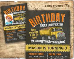 construction theme 1st birthday invitation boys yellow and