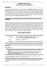 Welder Resume Sample by Resume Siva Qa Qc Multi Discipline