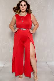 Trendy Plus Size Jumpsuits Red Sleeveless Thigh High Slit Maxi Plus Size Jumpsuit