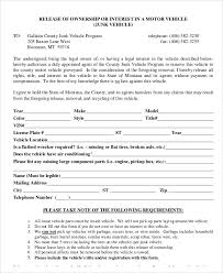 sample vehicle release form 9 examples in word pdfsample