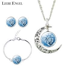 silver necklace bracelet set images Liebe engel women fine romantic silver color jewelry sets tree jpg