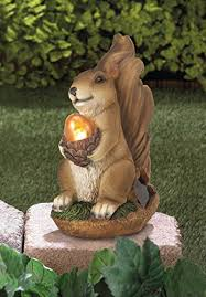 Outdoor Decor Statues Amazon Com Solar Garden Animal Statues Squirrel Concrete