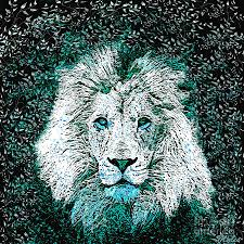 lion print blue lion painting by saundra myles