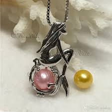 pearl charm necklace images Wholesale silver mermaid pendant necklace with natural oyster jpg
