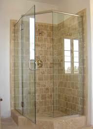 simple small bathroom with basket weave rainshower