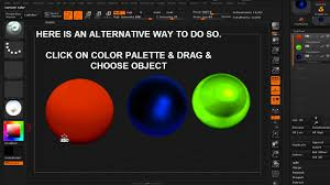 pick color and material from objects in zbrush youtube