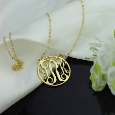 monogram initial necklace gold 18k gold plated circle initial monogram necklace with birthstone