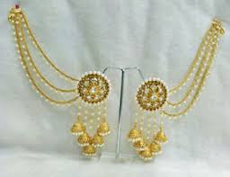 kaan earrings bahubali indian jewelry ethnic pearl polki jhumka jhumki earrings
