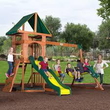 Cedar Playsets Backyard Discovery Santa Fe Wood Swing Set Walmart Com