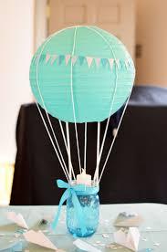 beautiful baby shower centerpiece idea air balloon anchored
