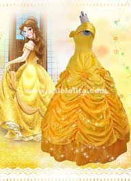 Ball Gown Halloween Costume Beauty Beast Cosplay Bella Costume Yellow Belle Princess