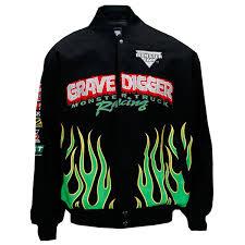 grave digger monster truck merchandise digger flames jacket
