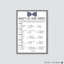 bow tie baby shower what u0027s in your purse game printable