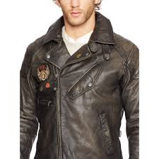 brown leather motorcycle jacket polo ralph lauren leather motorcycle jacket in black for men lyst