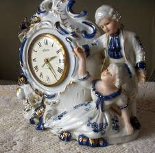 porcelain alarm clock linden putti style victorian inspired