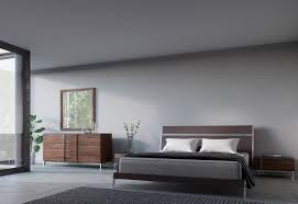 nova bedroom set domus ria contemporary brown eco leather stainless steel bedroom set