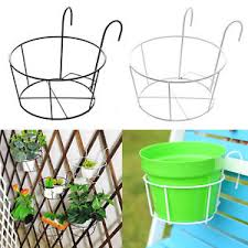 Flower Pot Holders For Fence - 2pcs hanging balcony fence metal iron flower plant pot holder