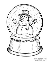 winter snow globe with snowman coloring page print color fun