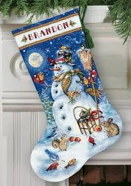 snowman and friends cross stitch christmas stocking kit
